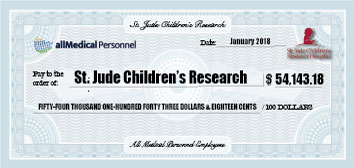 Large mock check for St. Jude