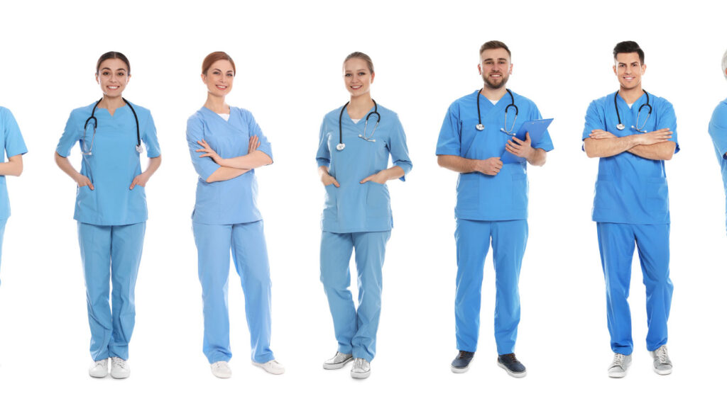 medical people on white background