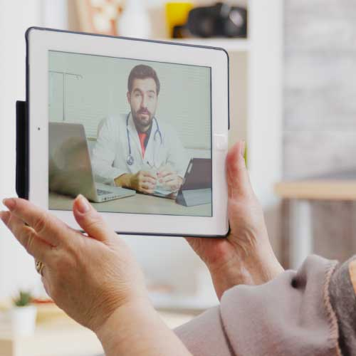 telehealth doctor on a tablet
